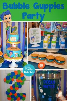 Home made tulle table skirt, bubble guppies banner, Bubble guppies ...