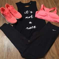 Coral and black nike gym outfit