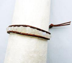 June Birthstone - Moonstone. Moonstone Beaded Leather Wrap Bracelet #June #birthstone #moonstone