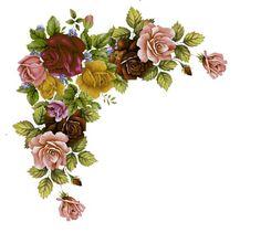 Blumenranken - Tendrils of flowers - Vrilles de fleurs Clip Art Vintage, Vintage Diy, Floral Vintage, Vintage Flowers, Vintage Images, Vintage Prints, Flower Bar, Flower Frame, Borders And Frames
