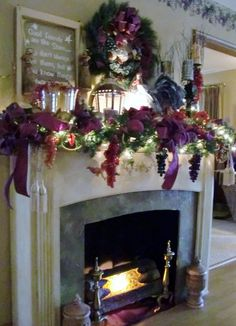 decorated christmas fireplace mantels christmas faux fireplace mantel christmas decorating ideas purple christmas - Decorating Fireplace Mantels For Christmas Pinterest