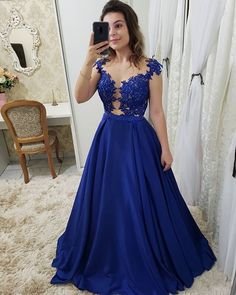Royal Blue Long Prom Dresses with Appliques, CR 867 Royal Blue Prom Dresses, Gala Dresses, Cute Dresses, Beautiful Dresses, Evening Dresses, Formal Dresses, Wedding Dresses, The Dress, Gowns