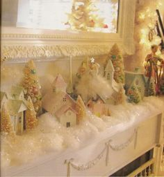 pictures of christmas shabby pink houses   ... is this mantel? Love all the little houses. Gorgeous mirror too