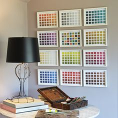 Set/12 framed color swatches -- only $415!......or instead, get paint swatches from the paint store, cut them, put in frames :)