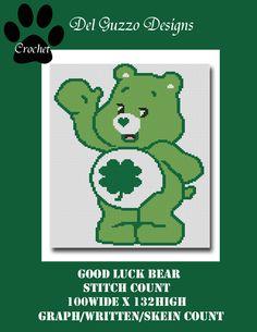 (4) Name: 'Crocheting : Care Bears Good Luck Crochet Graph