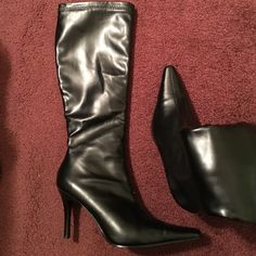 Black heeled boots. Black heeled boots. Size 8. Michael Shannon. Worn once- purposely scuffed to prevent slipping. Perfect snug fit! Michael Shannon Shoes Heeled Boots