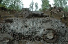 German Panzer III wreckage recovered from mud