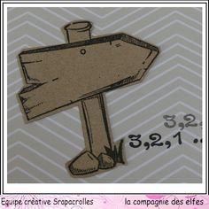 Tampon panneau en bois, Tampons La compagnie des elfes. #rubberstamp #scrapbook