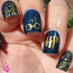 Harry Potter nail art #manismakeovers #navyblue #nails - bellashoot.com