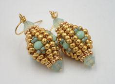 Herringbone Lantern Earrings ~ Seed Bead Tutorials
