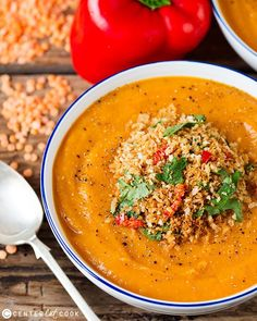 Lentil and Vegetable soup with crispy garlic-chilli breadcrumbs