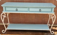 Dated wood sofa table transformed with two cans of paint..