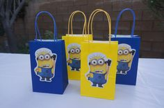Despicable Me Minions Fabor Goody Candy Birthday Party Blue and Yellow Bags on Etsy, $14.99