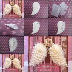 Making Angel wings. Baptism Party Decorations, Baptism Centerpieces, Baby Shower Decorations, Diy Craft Projects, Diy And Crafts, Paper Crafts, Angel Wings Decor, Angel Baby Shower, Angel Theme