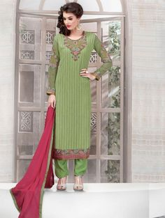 Green Georgette Suit with Embroidery Work