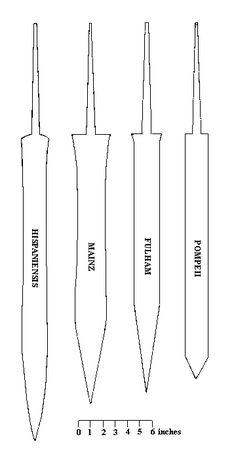 different kinds of Roman Gladius Sword Roman Sword, Roman Armor, Swords And Daggers, Knives And Swords, Roman Gladius, Gladius Sword, Knife Patterns, Roman Legion, Armadura Medieval