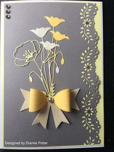 By Dianne Potter:Memory Box Prim Poppy and Perky Poppy dies,Sue Wilson classic bow,Martha Stewart floral punchMeer dan 1000 afbeeldingen over Die Cuts - Dancing Tulips .Classic gray and yellow comboThank You card August 2018 Tim Holtz negative die cu Handmade Birthday Cards, Greeting Cards Handmade, Diy Birthday, Envelopes Decorados, Memory Box Cards, Memory Box Dies, Poppy Cards, Embossed Cards, Stamping Up Cards