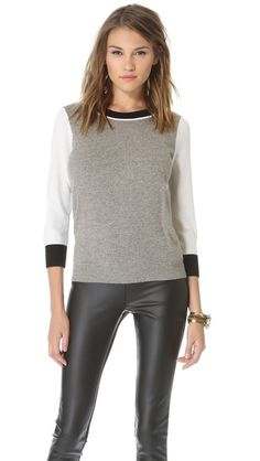 Club Monaco Grey and White Cashmere Sweater