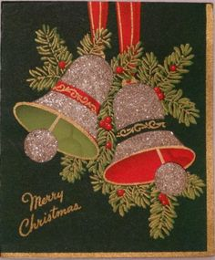40s Unused Glittered Bells- Vintage Christmas Greeting Card