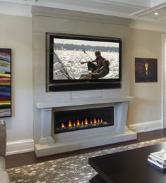 Linear fireplace unit surrounded by Omega's Cast Stone