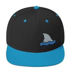 This premium hat is structured with a classic fit, flat brim, and full buckram. The adjustable snap closure makes it a comfortable, one-size-fits-most hat. Shark Fin, Dad Hats, Snapback Hats, Ted, Baseball Hats, Wool, Fashion, Moda, Baseball Caps