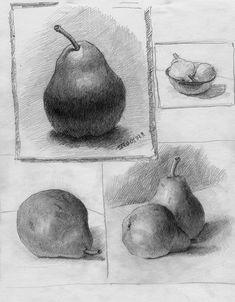 Still Life Drawing, Still Life Art, Sketches Of People, Art Sketches, Drawing Lessons, Drawing Techniques, Pear Drawing, Shading Drawing, Pencil Drawings