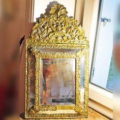Antieke 19t eeuw parclosed spiegel / Franse vintage spiegel / Napoleon III een pareclose spiegel