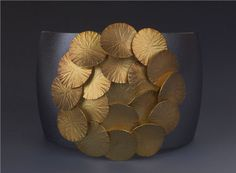Maria Samora 18k royal yellow gold & rosette cuff on oxidized sterling silver