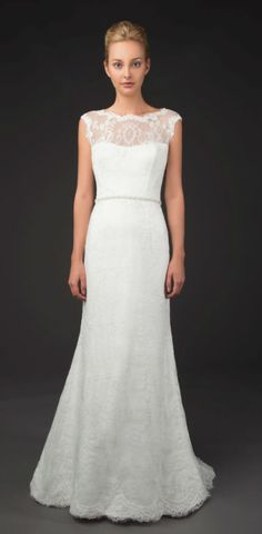 'Sevina', an illusion lace neckline wedding dress by Winnie Couture Blush Label