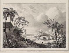 Dorp op een heuvel op Jodensavanne 1830