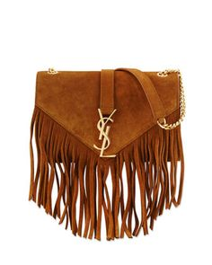 Monogram Suede Fringe Shoulder Bag by Saint Laurent at Neiman Marcus.