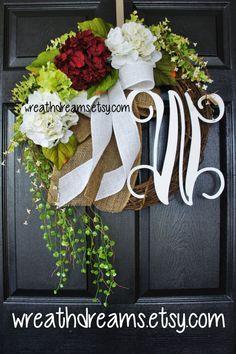Burgundy & White Hydrangea Monogram Grapevine by WreathDreams