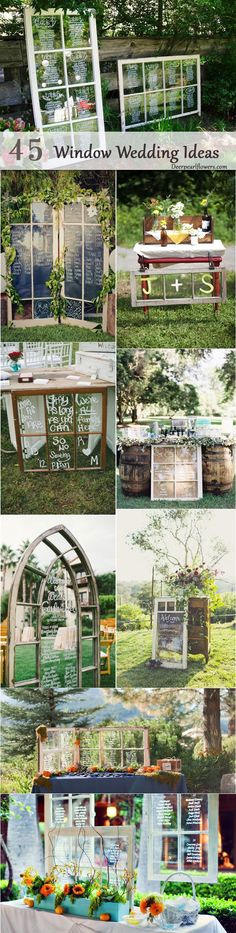 rustic country diy window wedding ideas / http://www.deerpearlflowers.com/diy-window-wedding-ideas/2/