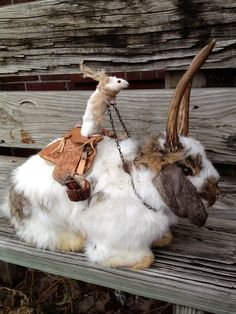 Meet Talley The Taxidermy Mouse That Moves Swiftly Across The Forest On His Might Rabbit Rise. $650.00, via Etsy.