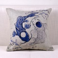 Chinoiserie fish decorative throw pillows for couch linen sofa cushions