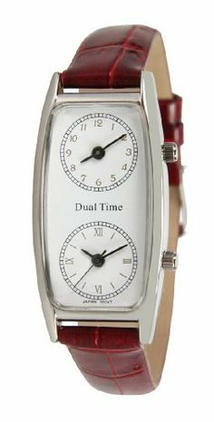Pedre Women's Silver-Tone Traveler Series Dual Time Watch #6645SX-RED-CRC Pedre. $29.95. Includes gift box and lifetime limited warranty. Great for Flight Attendants and Travelers. Two Accurate Japanese Quartz Movements. Stainless steel caseback. Genuine leather strap. Save 67% Off!