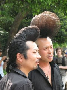 """Japanese Rockabillies Dancing in the Park - 日本 - Rockabilly is a Japanese subculture and fashion inspired by the greasers in America (think of John Travolta's character in """"Grease""""). Bad Hair Day, Big Hair, Kei Visual, Yoyogi Park, Japanese Funny, Pompadour Hairstyle, Turning Japanese, Dangerous Minds, Japan Photo"""