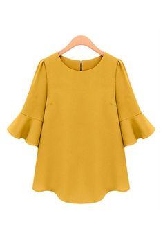 Yellow Three Quarter Sleeves Loose Chiffon T-shirt