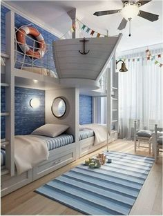 Rustic Italian Decor Bedroom: Nautical Room Design Ideas For Your Kid Cool Kids Rooms, Modern Kids Rooms, Cool Boys Room, Creative Kids Rooms, Awesome Bedrooms, Coolest Bedrooms, Dream Rooms, Dream Bedroom, Bedroom Fun