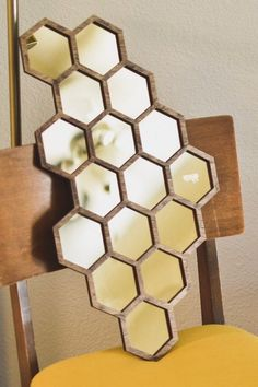 Hexagon Accent Mirror with Gold Tint and Honeycomb Pattern Sunflower Room, Tinted Mirror, Oak Stain, Honeycomb Pattern, Mirrored Furniture, Decoration, Watercolor Tattoos, Kitchen Themes, Nook