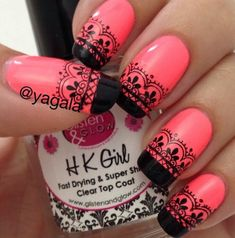 Pink, coral, black, lace, french manicure, long nails, stickers, simple