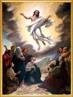 The painting Christ's Acsension that hangs above the altar in Maria Lanakila Church. Maui