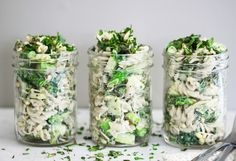 Mayo Free Pasta Salad with Tahini, Asparagus & Sprouts