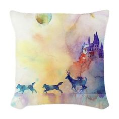 Harry Potter Pillow - Hogwarts and Marauders in pastel -- OHMYGOD I need this.