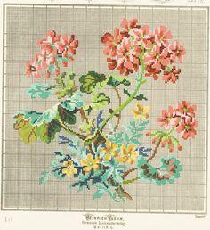 Heinrich Kuehn Cross Stitch Rose, Cross Stitch Borders, Cross Stitch Flowers, Cross Stitch Charts, Cross Stitch Embroidery, Hand Embroidery, Cross Stitch Patterns, Vintage Cross Stitches, Vintage Embroidery