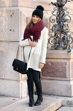 E n d   o f   O c t o b e r Coat French Connection, Beanie Stockmann,  Scarf Acne, Boots Zio, Bag Chanel.