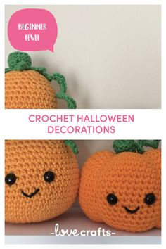 Who said Halloween has to be scary? Fill your home with this gorgeous little friends for not just Halloween but the whole of fall! A perfect make for the beginners to try. | Downloadable PDF at LoveCrafts Halloween Crochet, Halloween Crafts, Halloween Decorations, Christmas Knitting Patterns, Crochet Patterns, Baby Scarf, Universal Yarn, Plymouth Yarn, Cascade Yarn