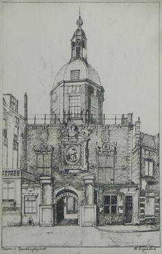Tekening (potlood). Groothoofdspoort Dordrecht. H. Hubregtse