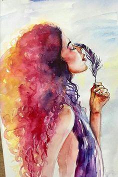 Watercolor Paintings For Beginners, Watercolor Portraits, Watercolor Art, Mermaid Drawings, Art Drawings Sketches, Portrait Art, Face Art, Art Inspo, Art Girl