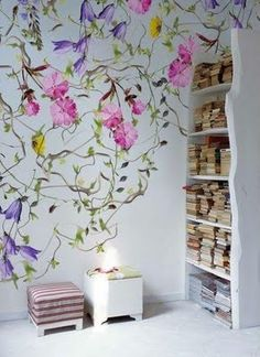 hand painted flowers on walls | wall painting (pictura pe perete